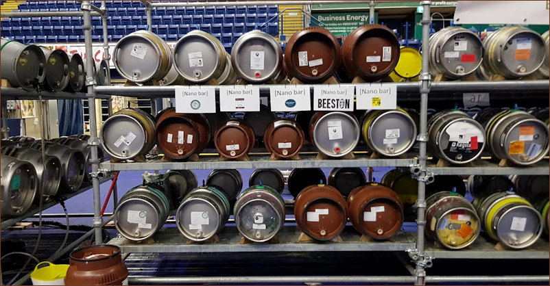 Close up of casks used at 2018 Beer Festival
