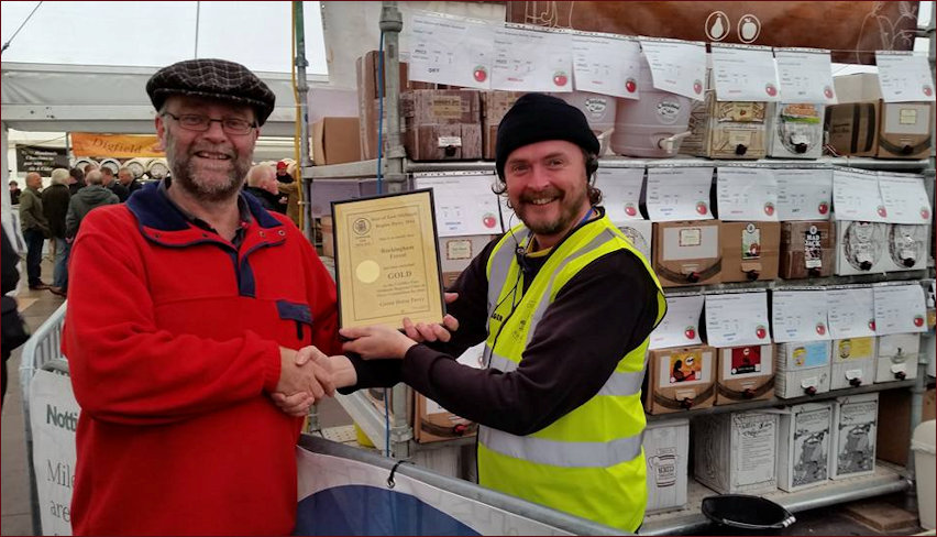Presentation of Gold Cider Award Certificate
